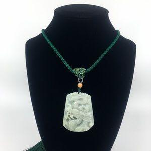 Natural Jade Dragon Pendant Necklace